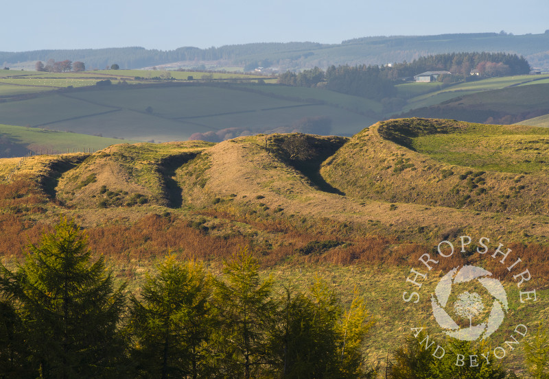Ramparts on Caer Caradoc hill fort in the Redlake Valley, Shropshire.