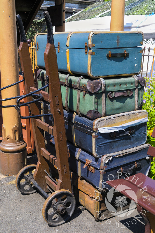 Luggage on the platform at Bridgnorth Station, Severn Valley Railway, Shropshire, England.