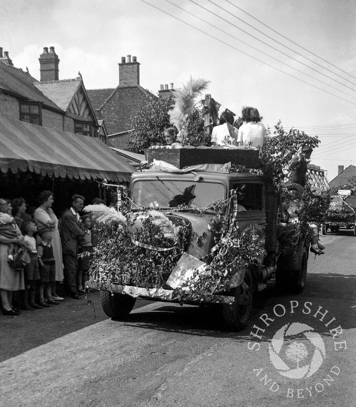 The carnival parade in Broadway, Shifnal, Shropshire, during the 1950s.