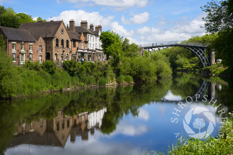 Ironbridge reflected in the River Severn, Shropshire.