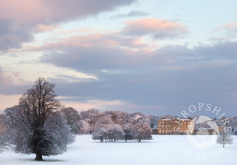 Winter sunrise at Attingham Park, near Shrewsbury, Shropshire.