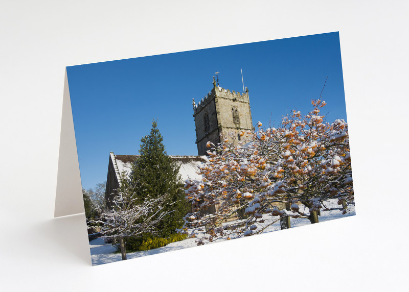 Winter snow at St Laurence's Church, Church Stretton, Shropshire.