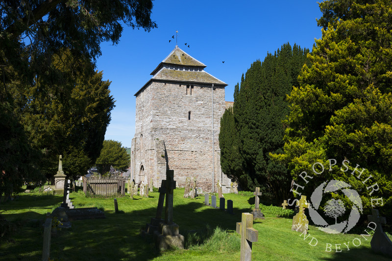 St George's Church and churchyard in Clun, Shropshire, England.