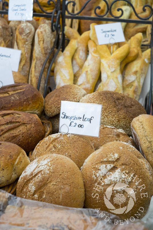 Shropshire loaves on sale at Ludlow Food Festival, Shropshire.