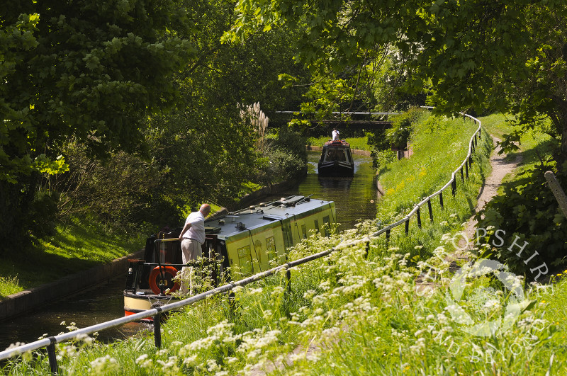 Narrowboats on the Llangollen Canal at Trevor, Powys, Wales.