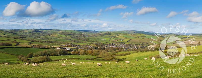 A panoramic view of Clun in the Shropshire Hills, England.