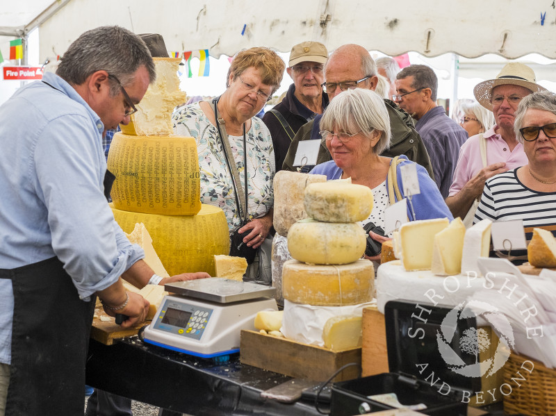 Visitors queue up for cheese at the 2016 Ludlow Food Festival, Shropshire.