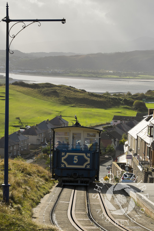 The Great Orme Tramway, Britain's only cable-hauled public road tramway, in Llandudno, North Wales.
