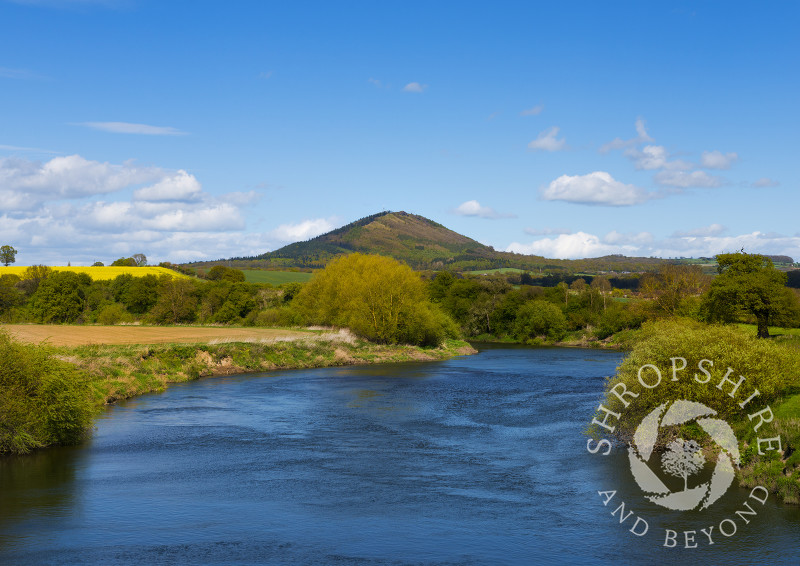 A view of the River Severn and the Wrekin seen from the village of Cressage, Shropshire, England.
