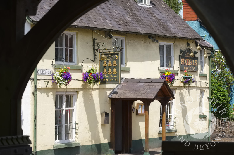 The Six Bells public house in Bishop's Castle, Shropshire, England.