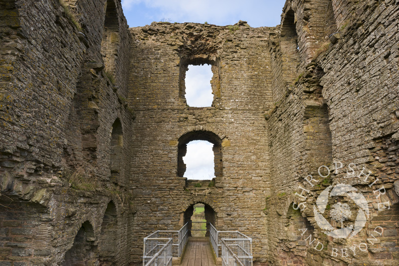 The ruined keep of Clun Castle, Shropshire, England.