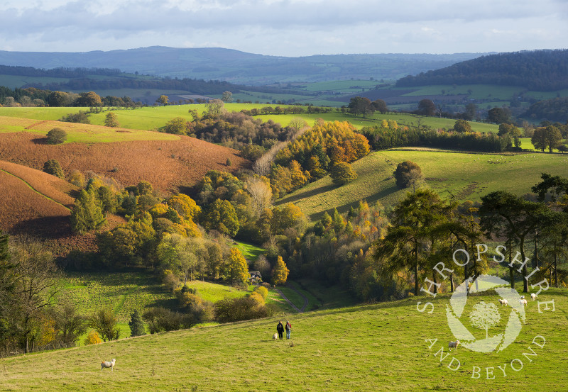Walkers descend from Burrow Hill, near the village of Hopesay, south Shropshire.