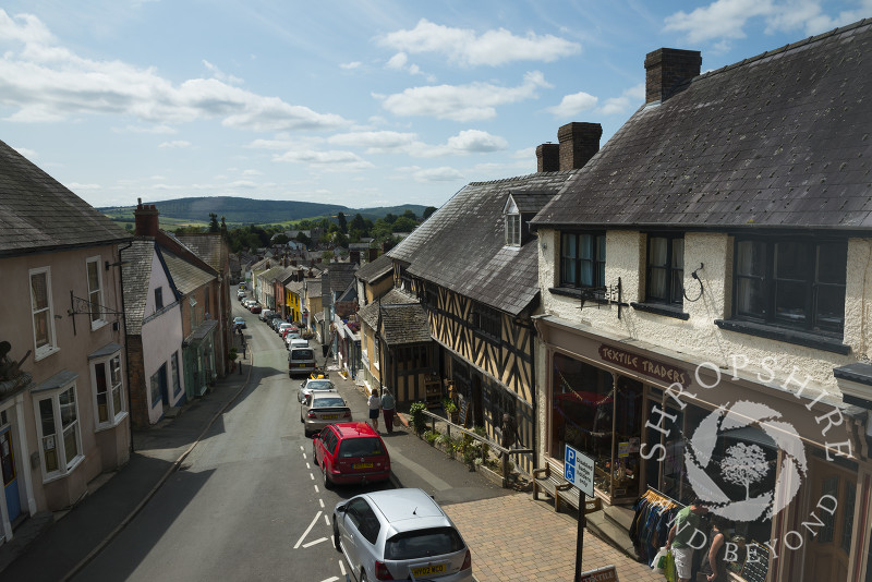 The view down High Street from the Town Hall in Bishop's Castle, Shropshire, England.