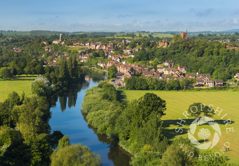 The town of Bridgnorth and River Severn seen from High Rock, Shropshire, England.