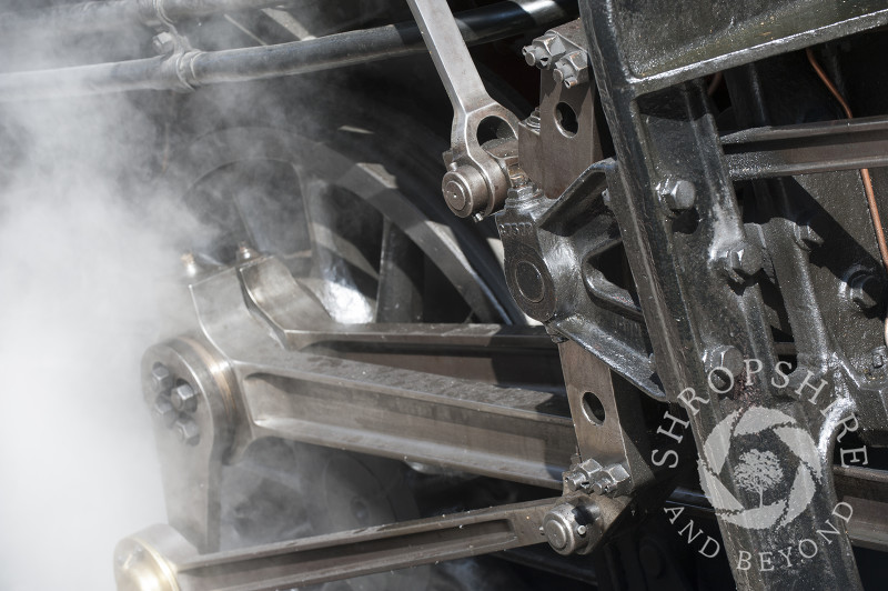 A close-up of a steam locomotive at Hampton Loade Station, Severn Valley Railway, Shropshire, England.