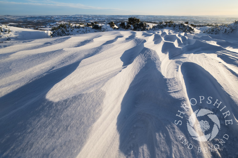 Snow drifts at Clee Hill village, Shropshire.