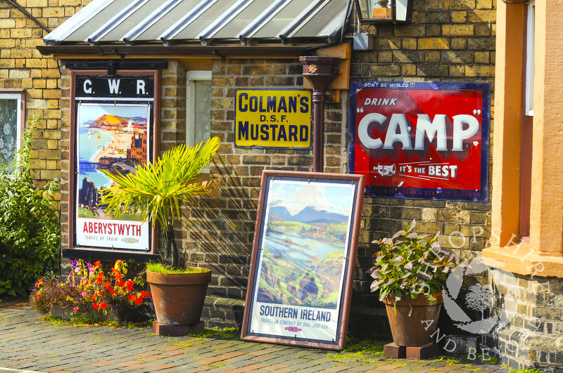 Vintage advertising signs on the platform at Hampton Loade Station, Severn Valley Railway, Shropshire, England.