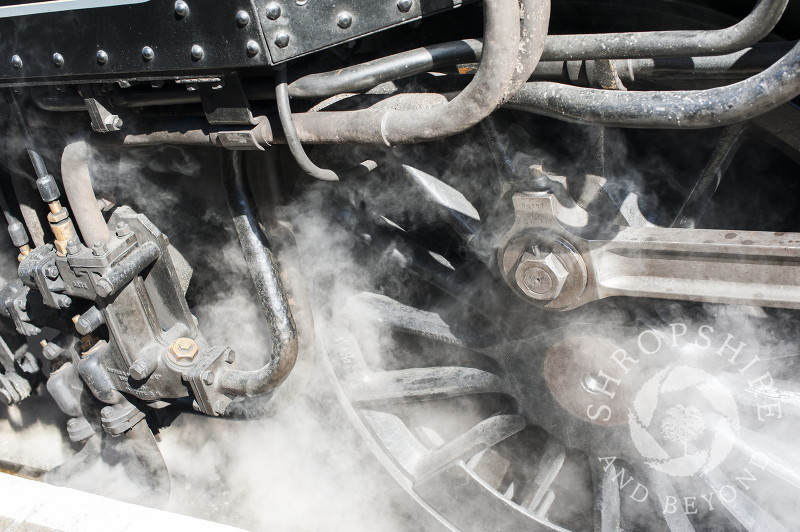 Close-up of a steam locomotive at Hampton Loade Station, Severn Valley Railway, Shropshire, England.