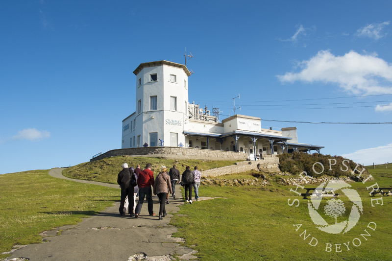 Walkers head to the Summit Complex on the Great Orme at Llandudno, north Wales.