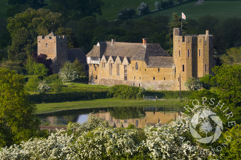 Evening sun on Stokesay Castle, near Craven Arms, Shropshire.