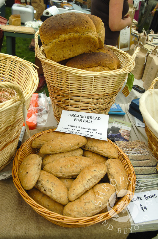Organic bread for sale at Ludlow Food Festival, Shropshire, England.