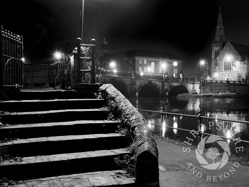 English Bridge at night, Shrewsbury, Shropshire, England.