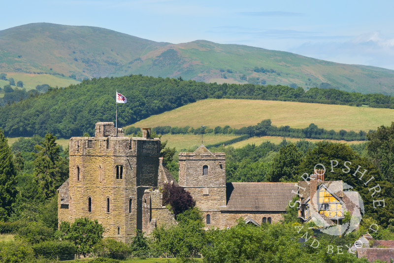 Stokesay Castle and the Long Mynd in south Shropshire.