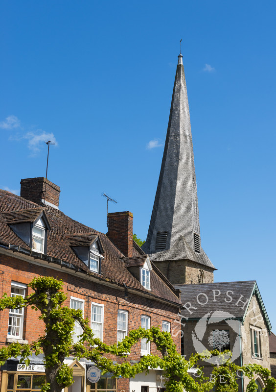 The twisted spire of St Mary's Church in Cleobury Mortimer, Shropshire.