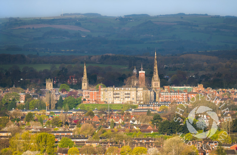 The spires and towers of Shrewsbury, Shropshire, seen from Haughmond Hill.