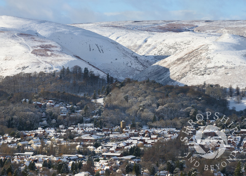 Church Stretton nestling under the Long Mynd below Townbrook Valley, Shropshire.