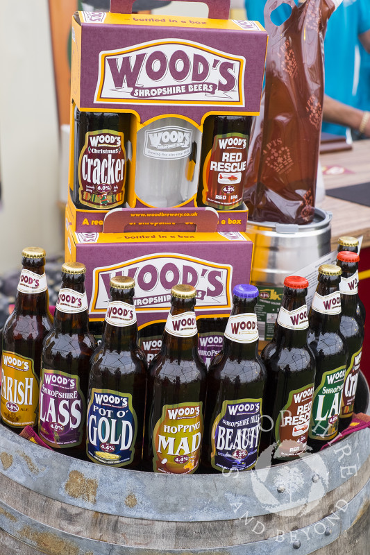 A selection of Wood's Brewing Company beer at Ludlow Food Festival, Shropshire.