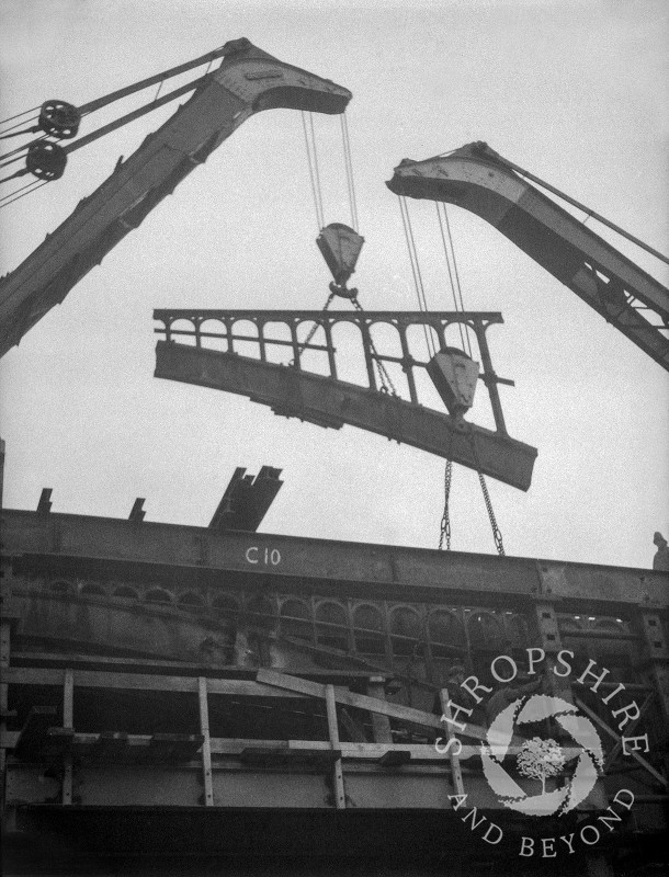 The old railway bridge being dismantled, Shifnal, Shropshire, 1953.