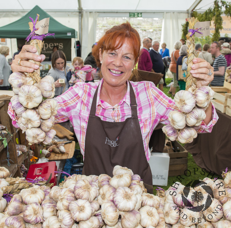 Caroline Stenning of the French Flavour garlic stall at the 2016 Ludlow Food Festival, Shropshire.