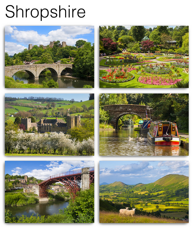 Pack of 6 Shropshire Postcards