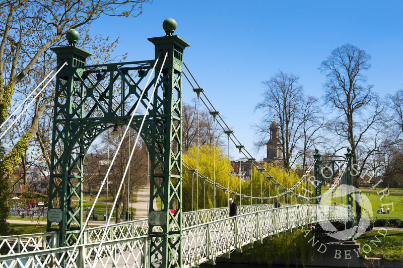 Porthill Bridge across the River Severn leading to The Quarry in Shrewsbury, Shropshire, England.
