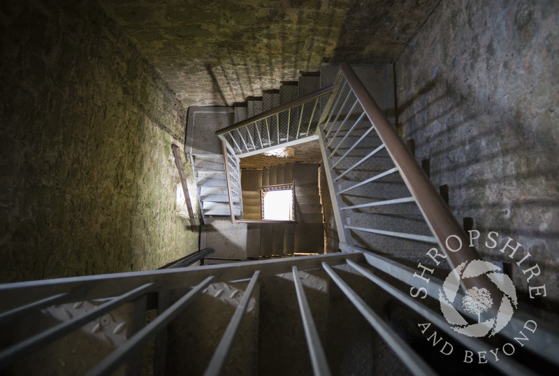 Looking down the stairwell of Flounders' Folly on Callow Hill near Craven Arms, Shropshire, England.