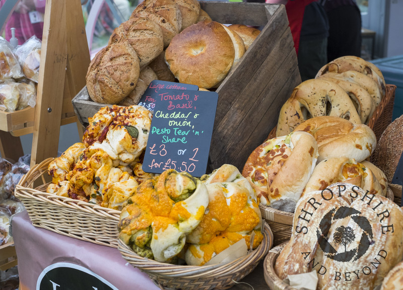Speciality bread on sale at Ludlow Food Festival, Shropshire.