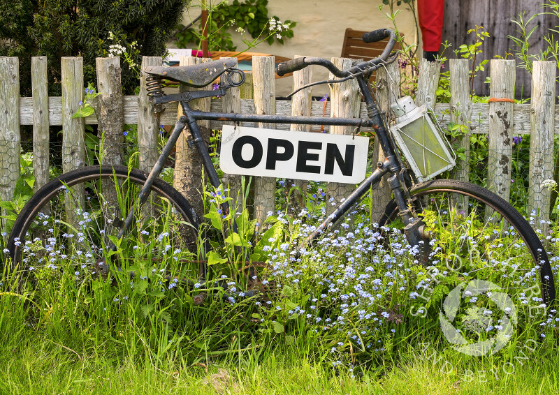 An old bicycle leans against the fence outside the Rocke Cottage Tea Rooms - formerly the Bird on the Rock - in Abcott, Clungunford, near Craven Arms in Shropshire.