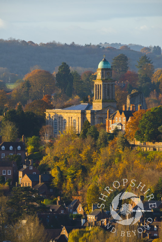 Early morning light picks out St Mary's Church and autumn colours at Bridgnorth, Shropshire, seen from High Rock.