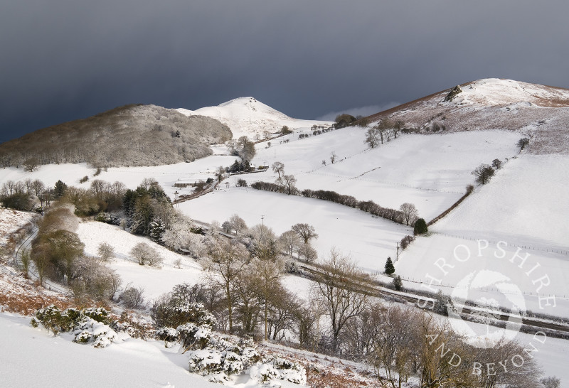 Helmeth Hill, Caer Caradoc and Hope Bowdler, seen from Hazler Hill in winter, Church Stretton, Shropshire.