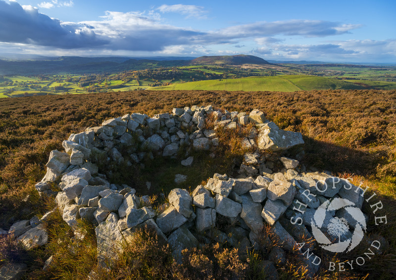 A circle of stones on the summit of Heath Mynd, near Bishop's Castle, Shropshire.