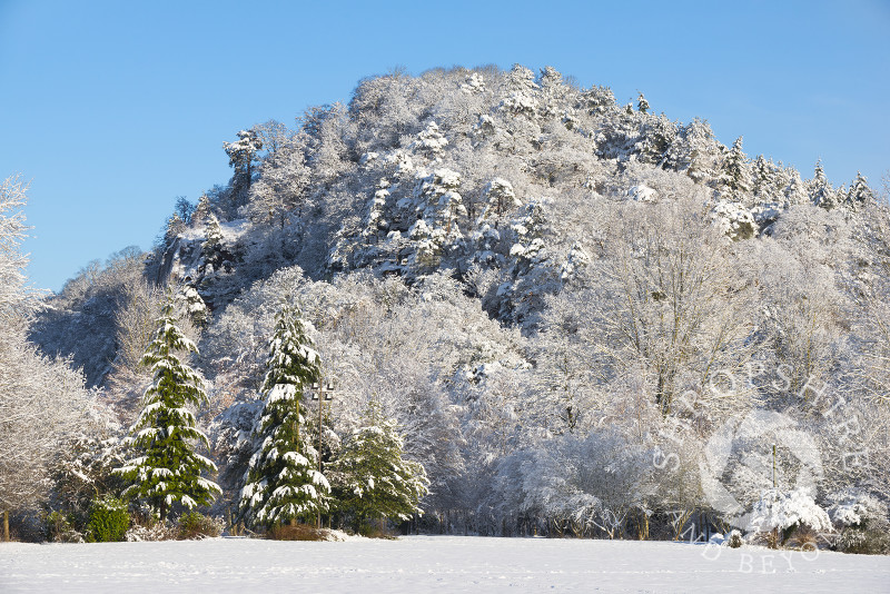 High Rock at Bridgnorth, Shropshire, beneath a layer of snow.