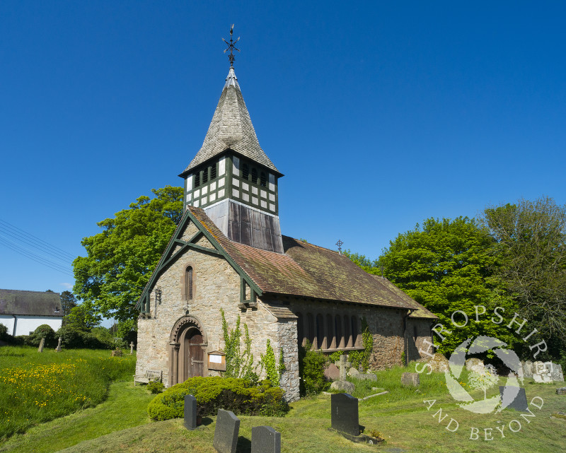 St Mary's Church in the village of Bedstone, south Shropshire.