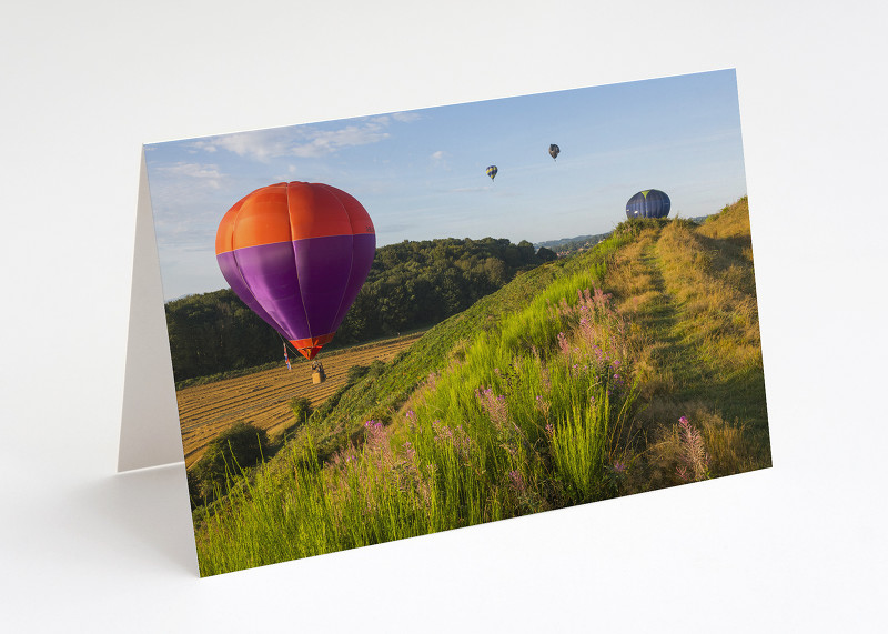Hot air balloons over Old Oswestry Hill Fort, Shropshire.