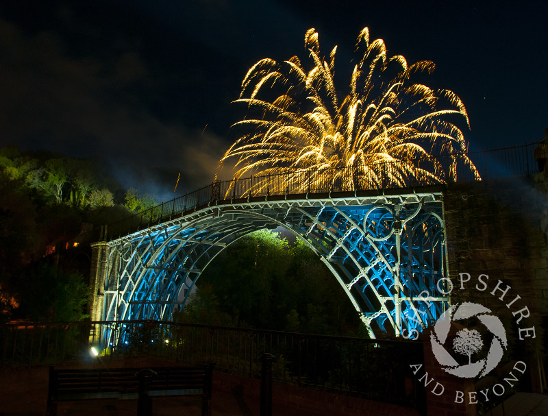 Fireworks over the Iron Bridge at Ironbridge, Shropshire, England.