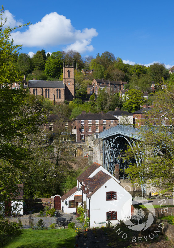 Blue skies over the town of Ironbridge in Shropshire, England.