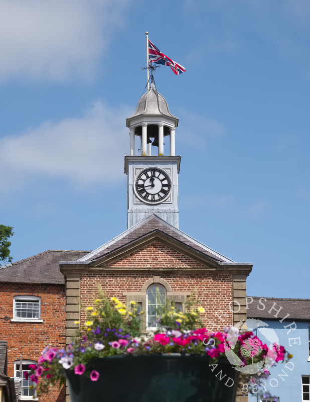 The Union flag flies over the Town Hall in Bishop's Castle, Shropshire, England.
