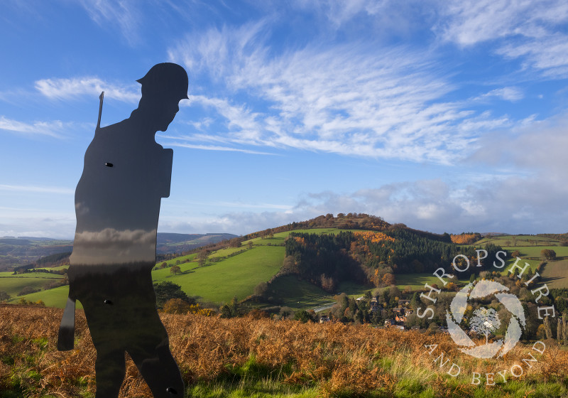 A Silent Silhouette above the village of Hopesay, Shropshire, to mark the final year of the World War One centenary.
