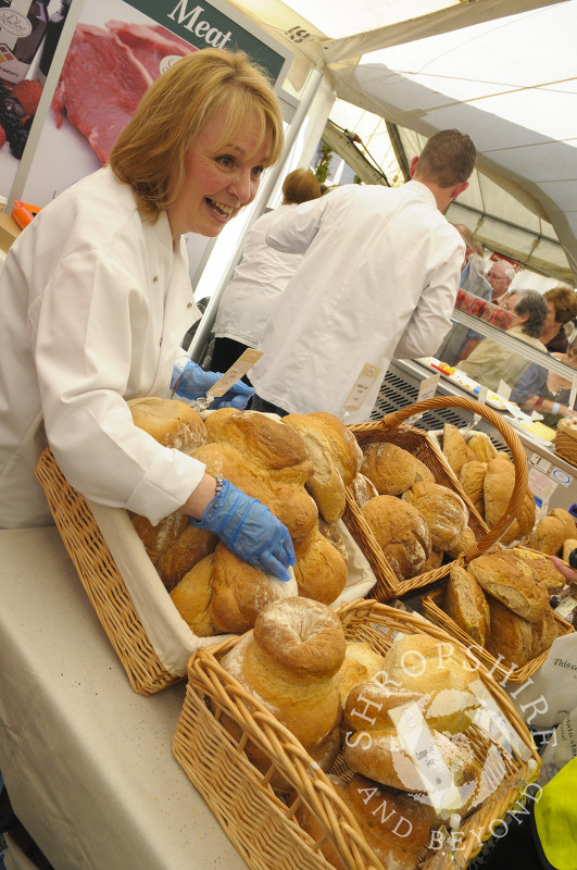 A baker's stall at Ludlow Food Festival, Shropshire, England.
