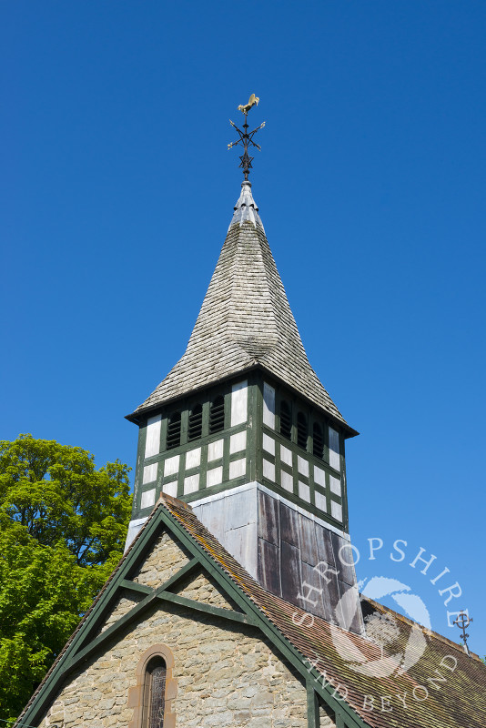 The shingled spire of St Mary's Church in the village of Bedstone, south Shropshire.